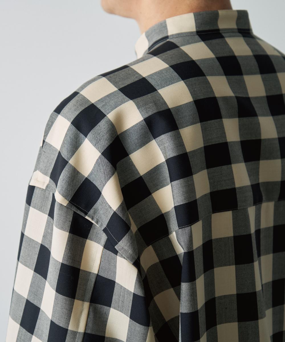 テックウールバンドカラーチェックシャツ